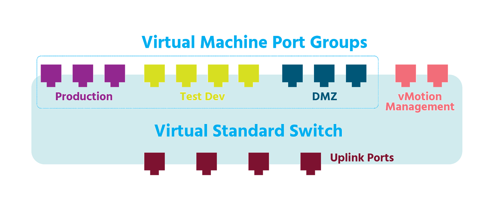 A host contains a virtual standard switch and has three VM port groups, two vMotion ports, and four uplink ports