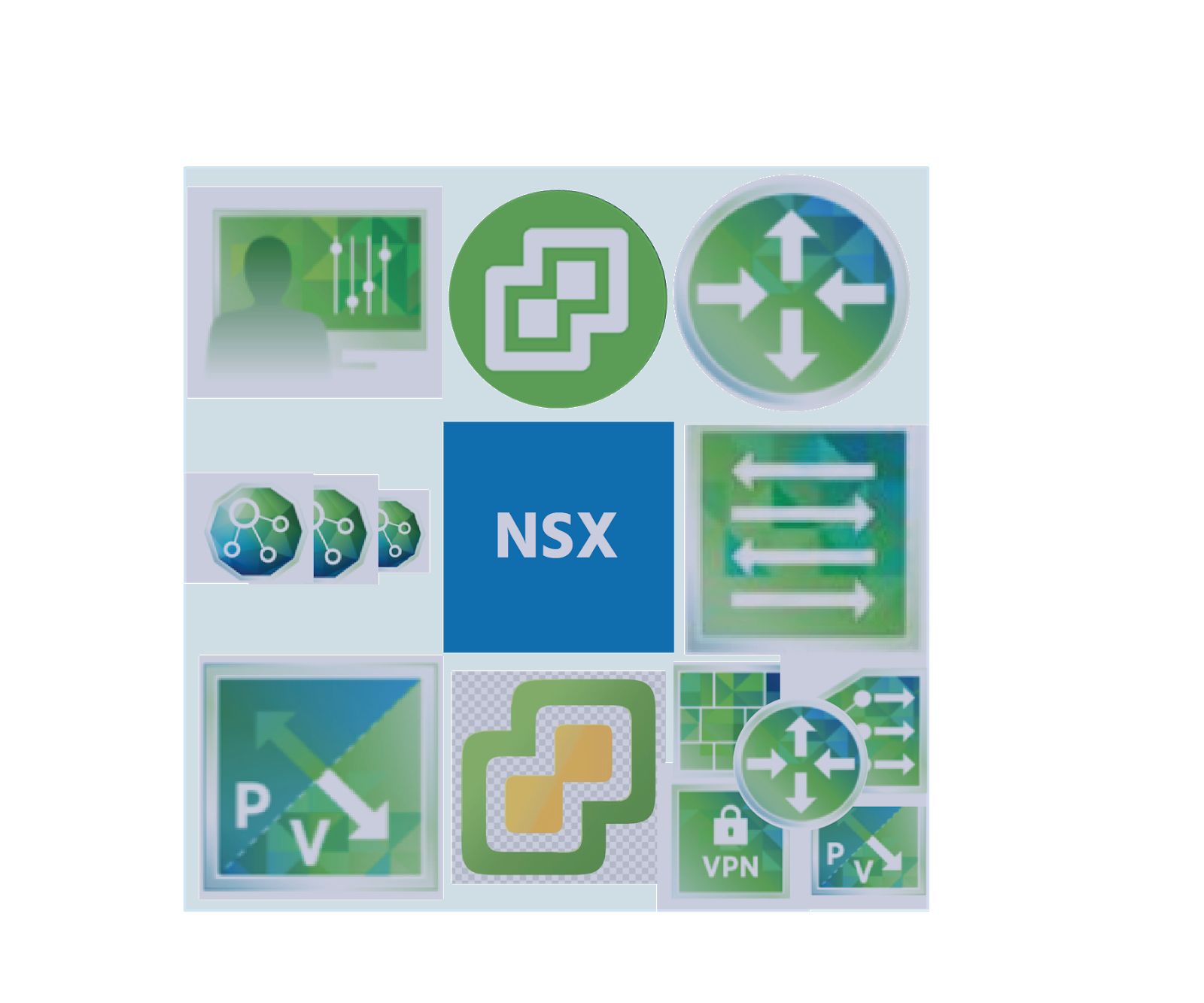 A cube has the icons of NSX Manager, vCenter Server, NSX Logical Router Control VM, NSX Controller Cluster, NSX vSwitch and NSX Edge on its faces