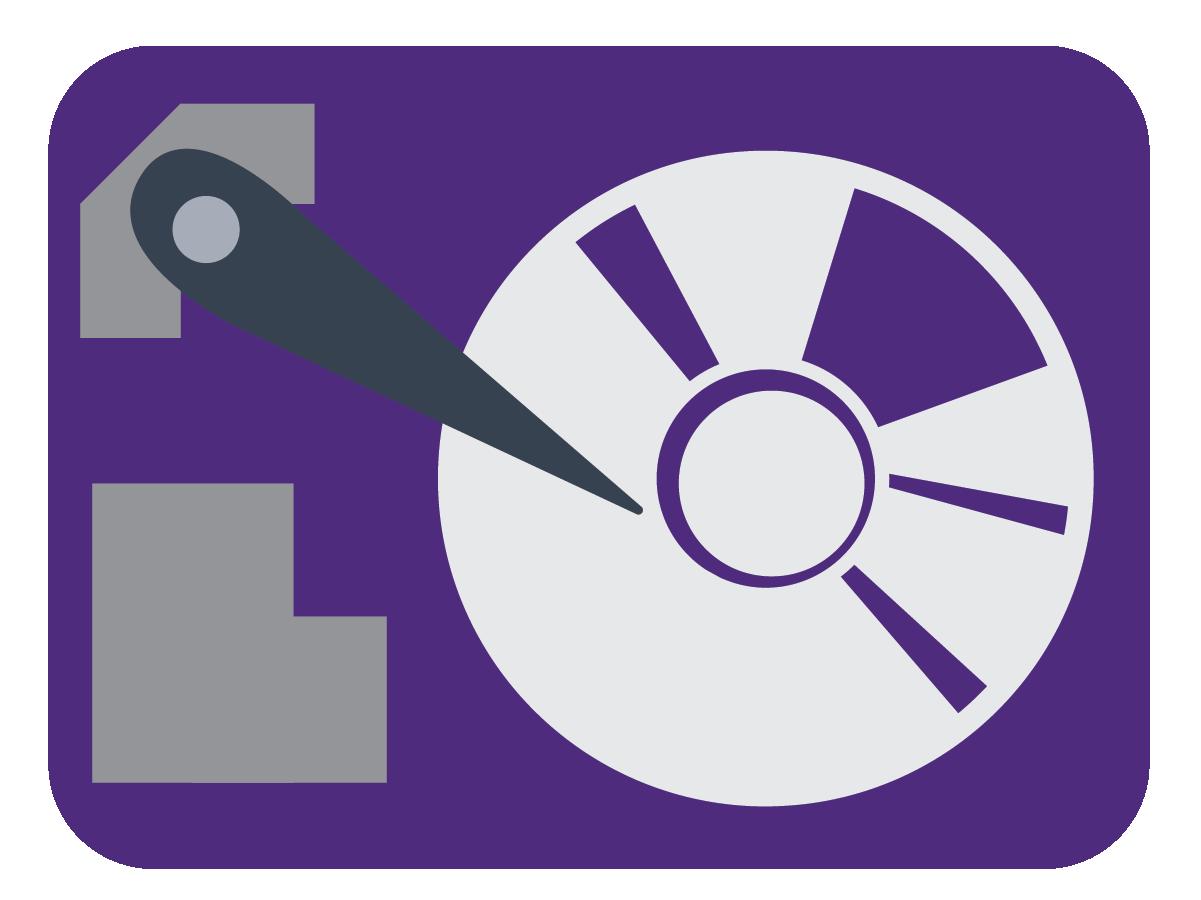 A mechanical hard disk drive.