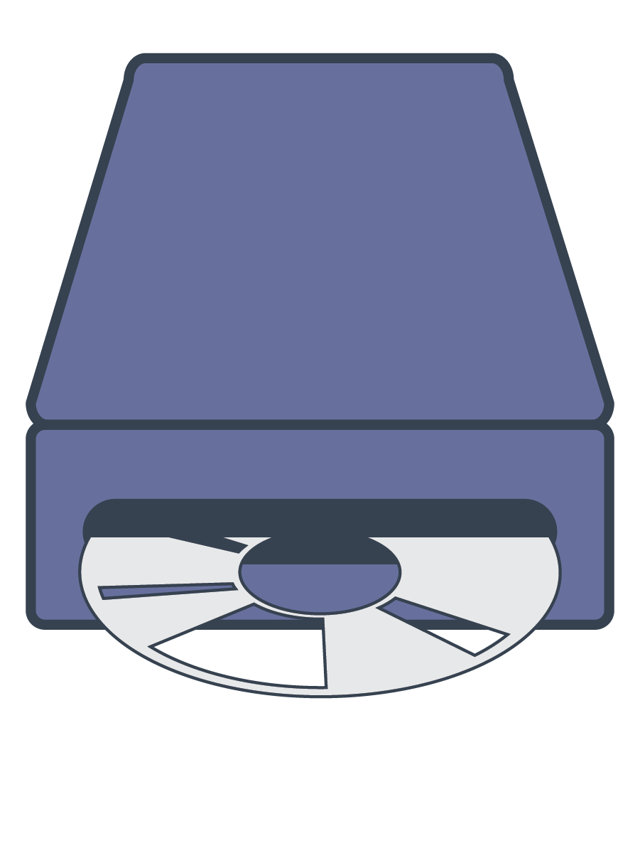 An optical disk drive with an optical disk in it.