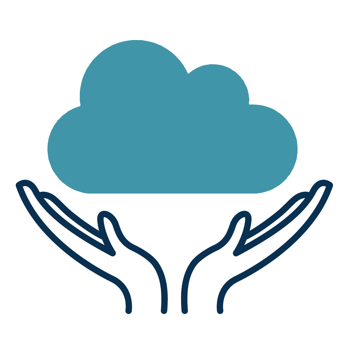 A cloud hovers above two hands which have their palms upwards, representing a personal cloud.